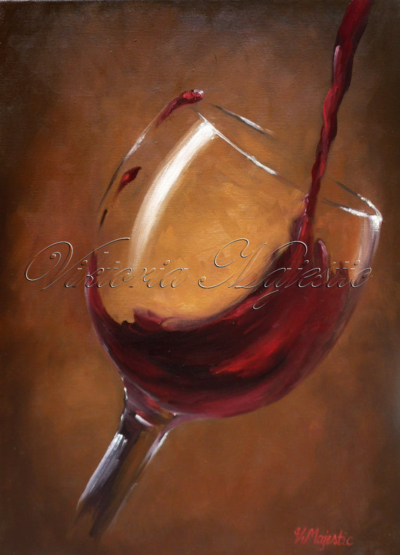 Wine Splash Painting from Etsy